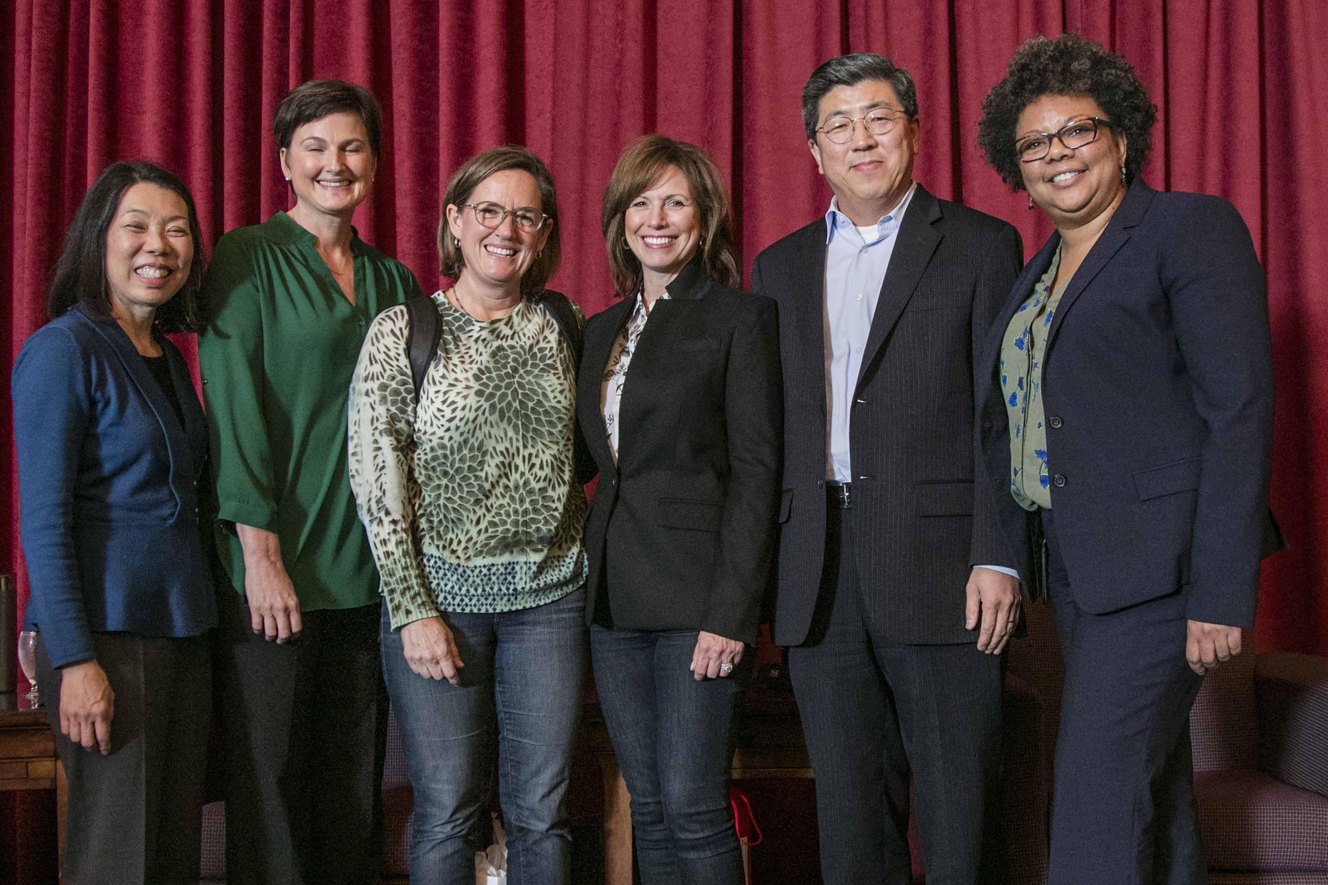 Left to right: Donna Uchida (panelist, chief of communications at Kaiser Permanente), Tiffin Groff (panelist, MBA '03, vice president of channel marketing for Peet's Coffee & Tea), Amy Vernetti (panelist from Google), Kris Snow (president of Cisco Systems Capital Corp. and SEBA Advisory Board member), Amy Vernetti '90 (panelist, director of leadership recruiting at Google), SEBA Dean Zhan Li, and Moire Rasmussen (moderator, diversity and inclusion leader at PricewaterhouseCoopers).
