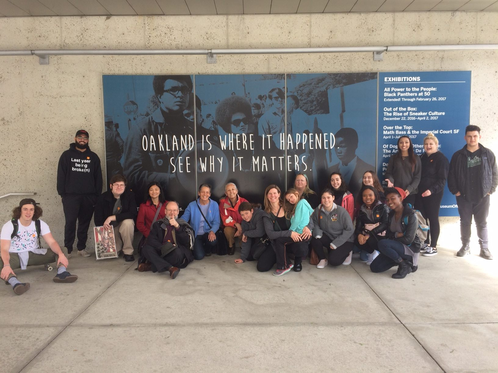 Spring 2017: Students and faculty went to the Oakland Museum of Modern Art to see the exhibit honoring the Black Panther Party's 50th anniversary.