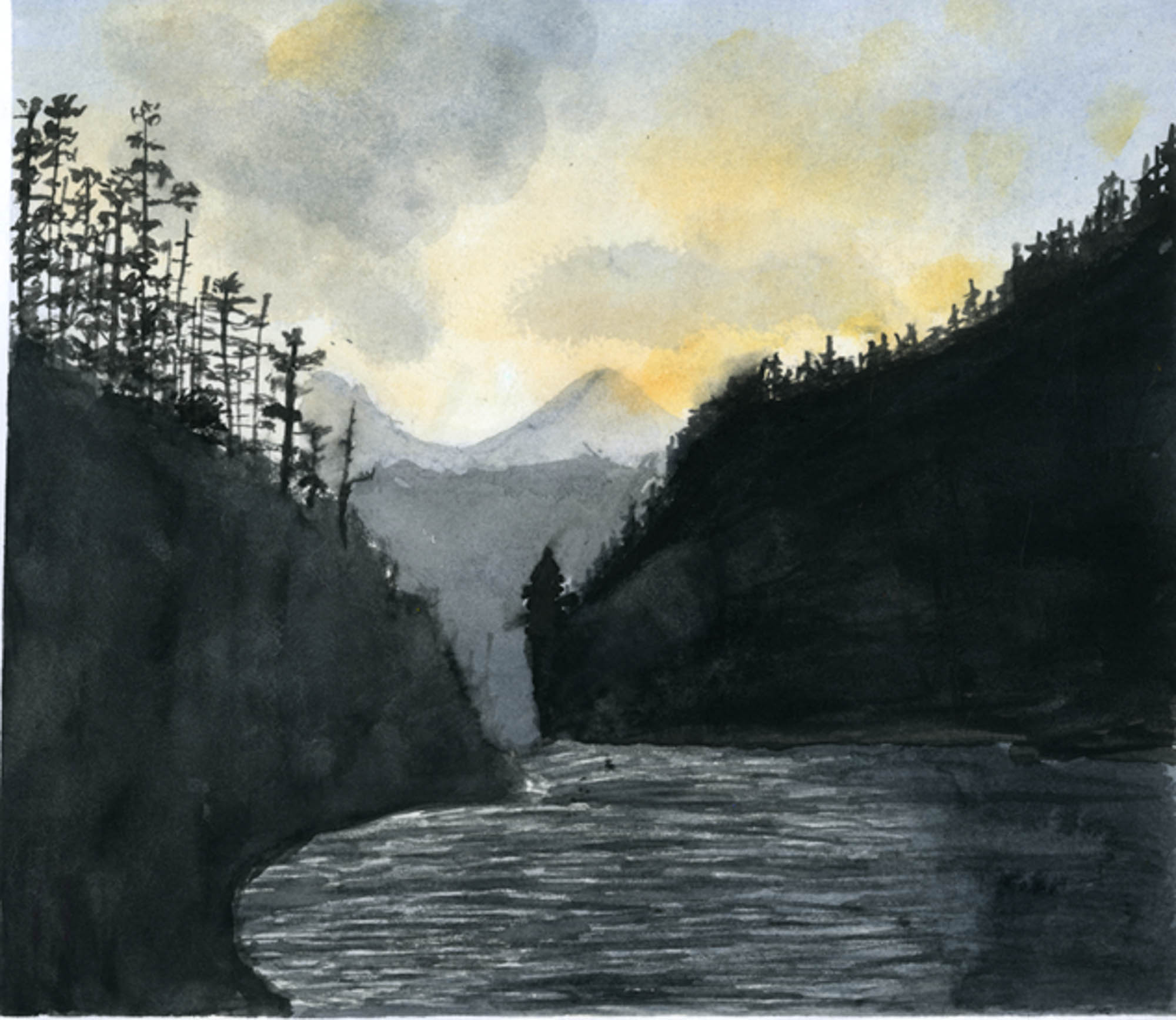 Alaskan Cove,Emma Ratshin, age 13Seattle, WashingtonLakeside Middle SchoolTeacher: Alicia Hokanson,2013 River of Words Finalist