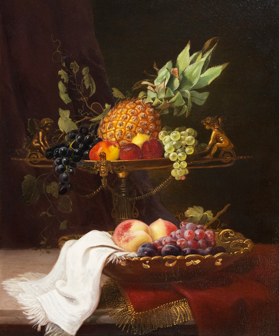 Elizabeth Emerson Keith (1838-1882) Still Life with Tazza and Fruit, n.d.,24 x 20 inches, oil on canvas, Saint Mary's College Museum of Art Permanent Collection [2014.4]