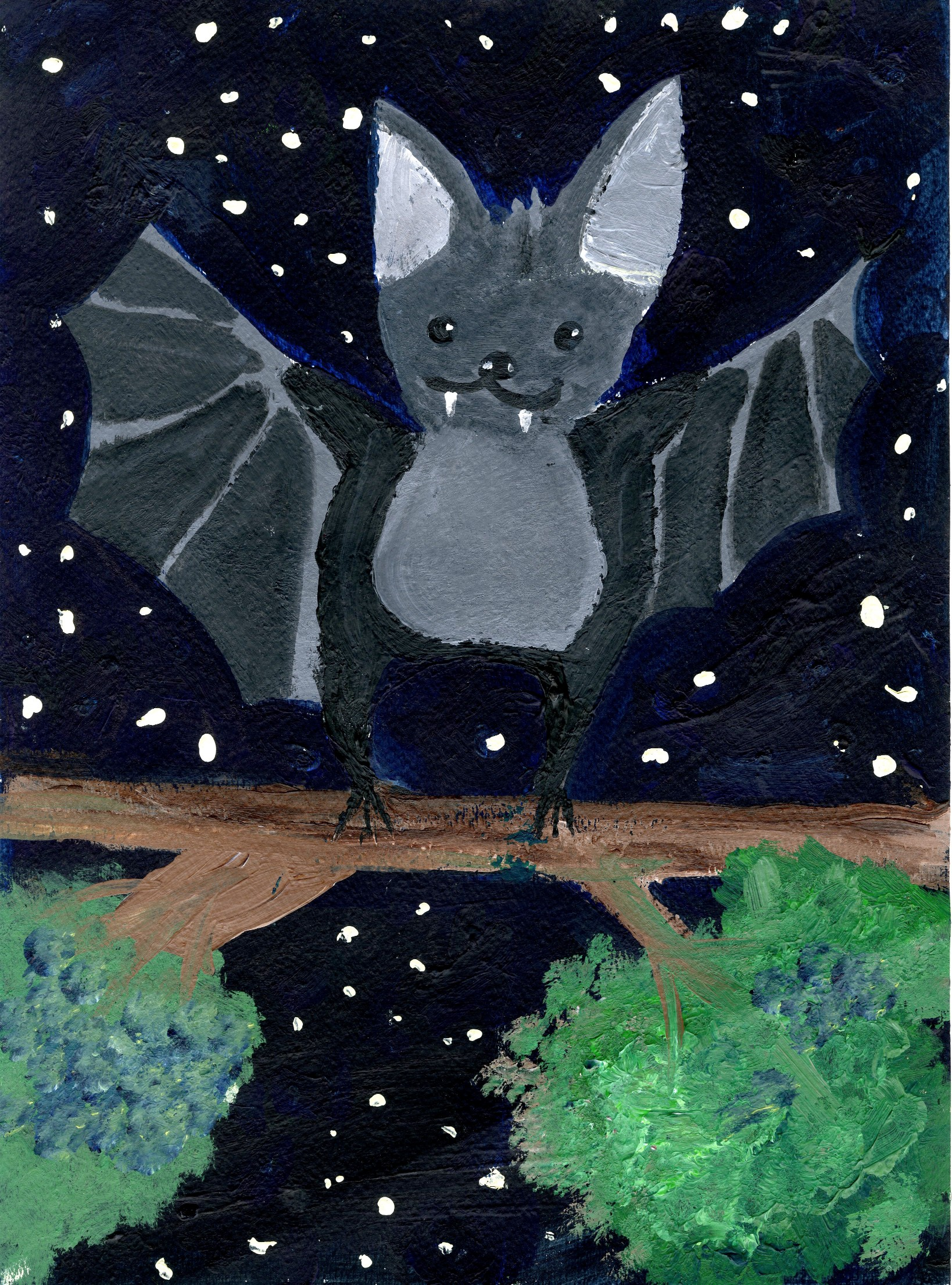 """A Bright Night"" Felix Ding, age 6. 2015 River of Words Finalists. Union City, California"