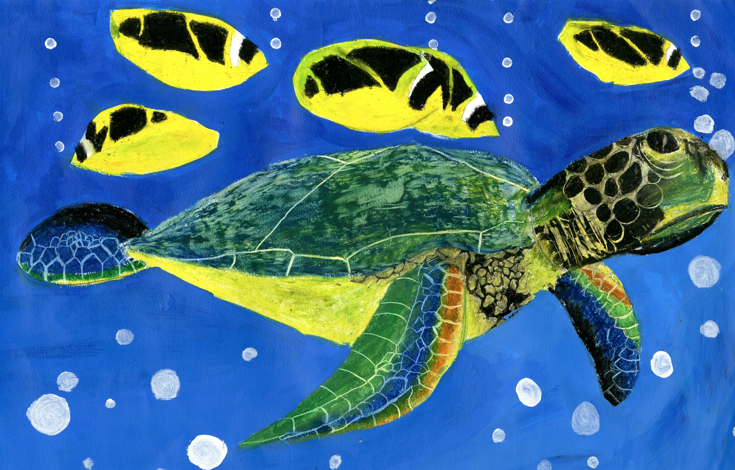 "2015 River of Words Finalist ""Sea Turtle"" Alexandra Gibbs, age 11. Alexandria, Virginia"