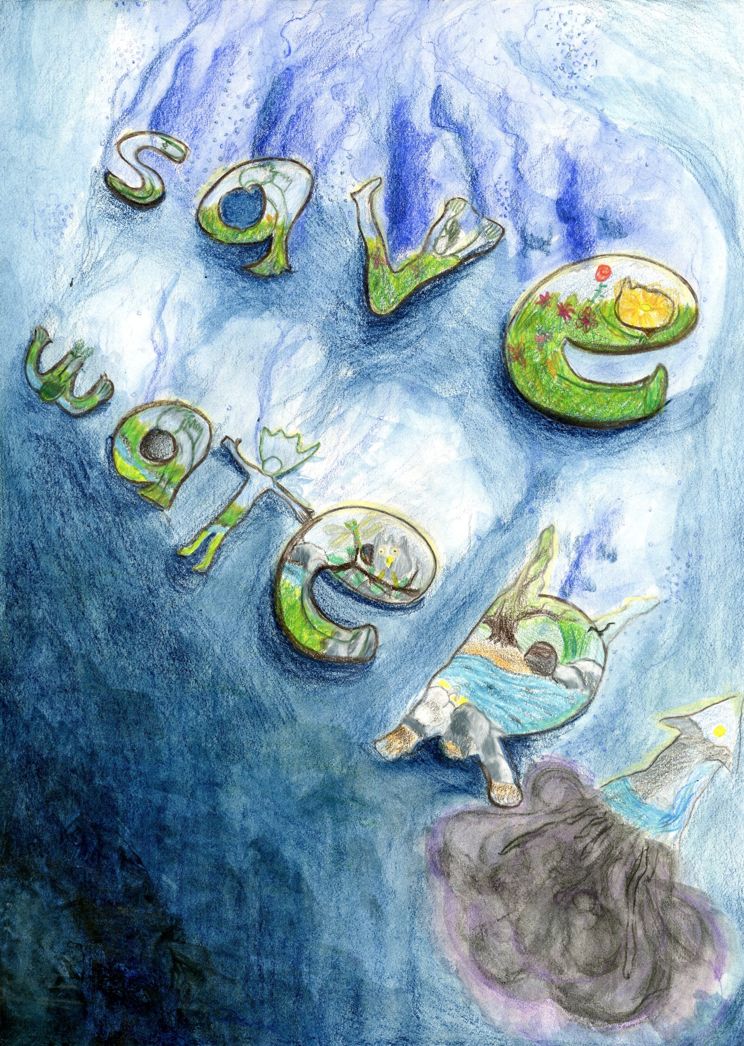 "2015 River of Words Finalist ""Saving Water"" Alan Kim, age 13. Los Angeles, California"