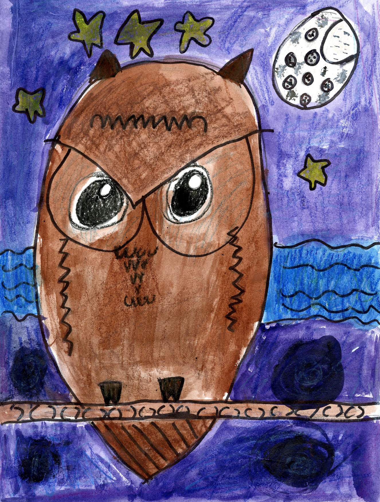 "2015 River of Words Finalist ""Creek Owl"" Maddie Lauria, age 7. Cumming, Georgia. Brookwood Elementary - Teacher: Susan Voshell"