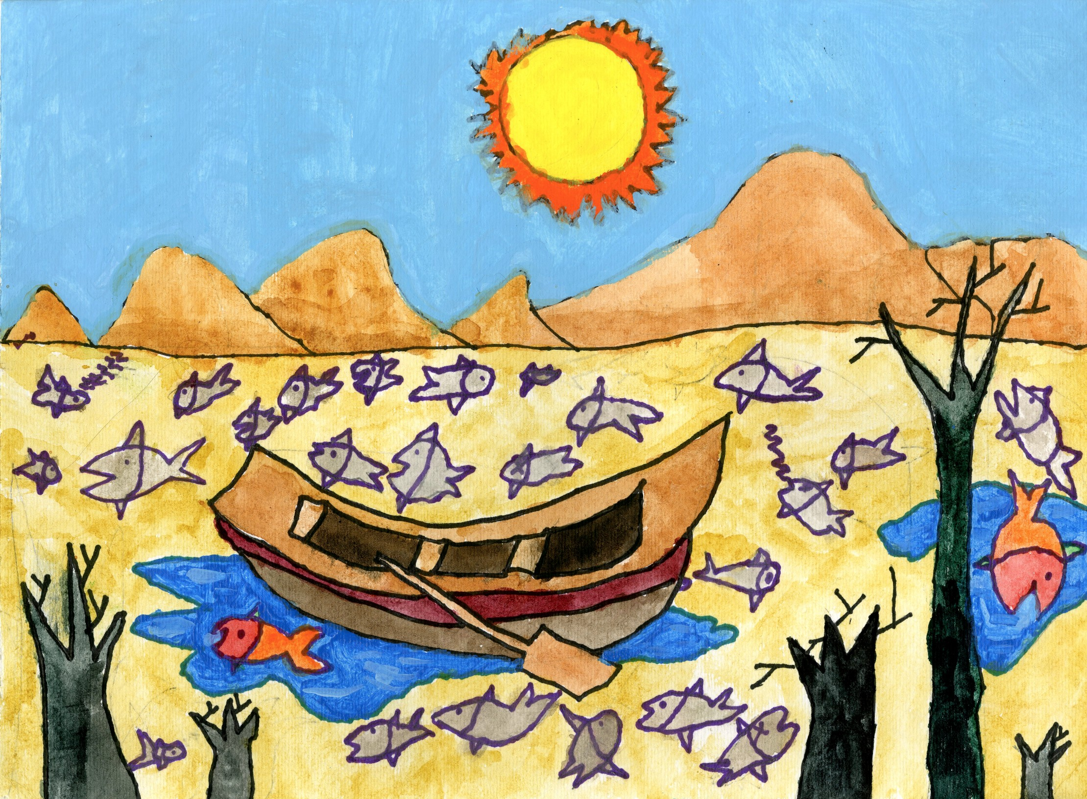 "2015 River of Words Finalist ""I Wish the River Will Not Dry Up"" Jerry Yu, age 6. Atlanta, Georgia. Shijun Art Studio (Lilburn) - Teacher: Shijun Munns"