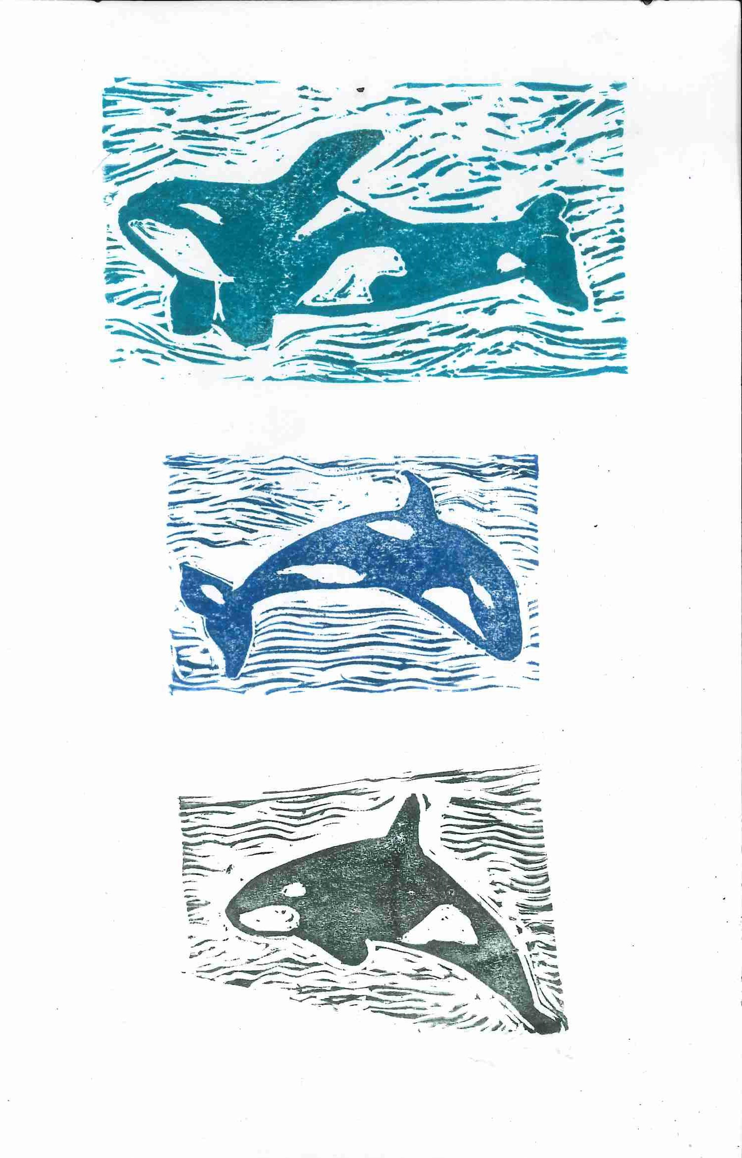 """Pod of Orcas""  Lena Moller, age 12. Flowery Branch, GA. The DaVinci Academy  Teacher: Lyndrid Patterson. 2016-2017 Art Finalist"