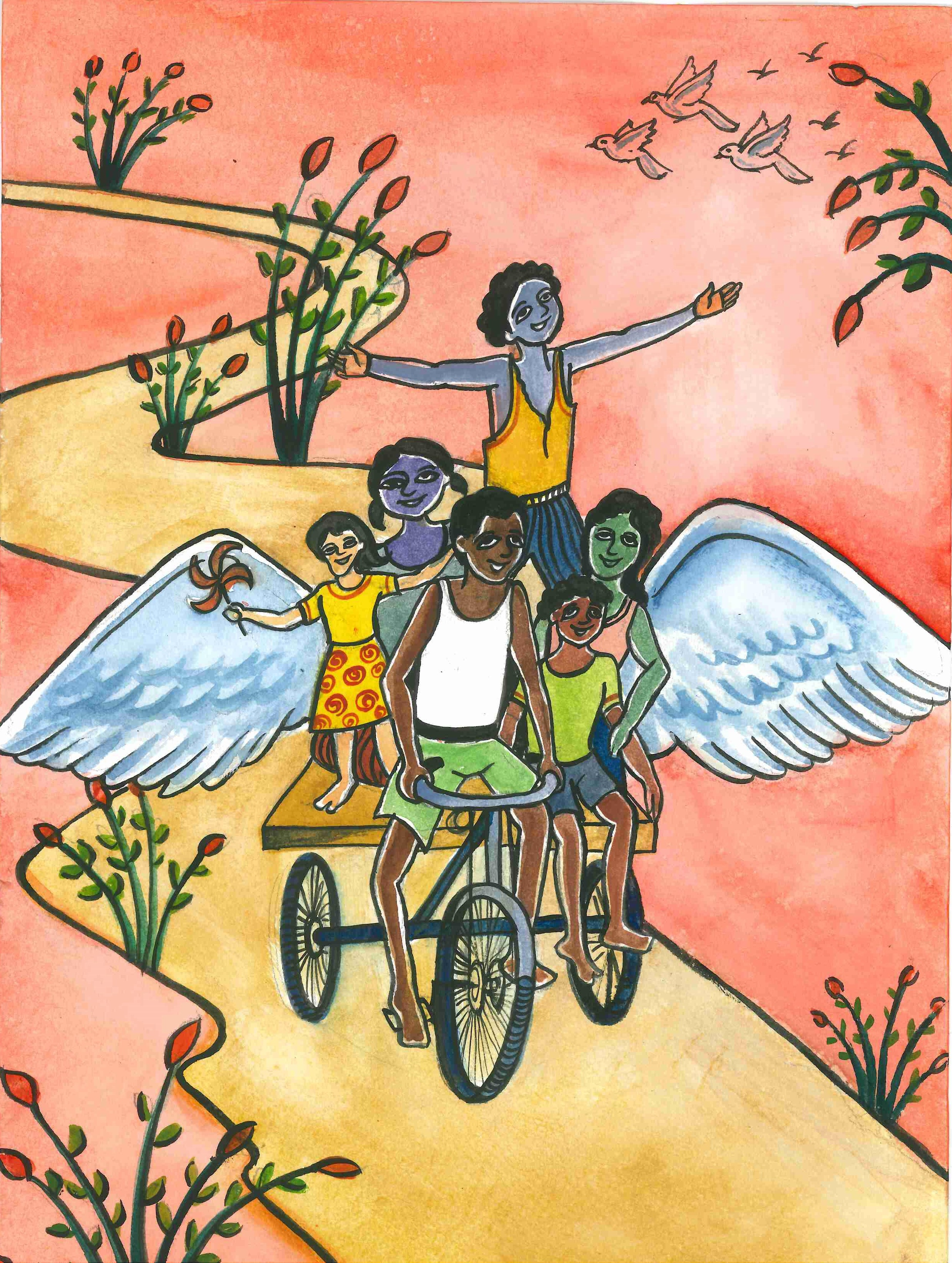 """Joy and enthusiasm of the children, which is the symbol of unity in diversity and that spirit brings the peace and happiness in the world. The wings of freedom have seemed to have arised to break free all the barriers.""  Neha Ray, age 17. Kolkata, West Bengal, India.  2016-2017 Art Finalist"