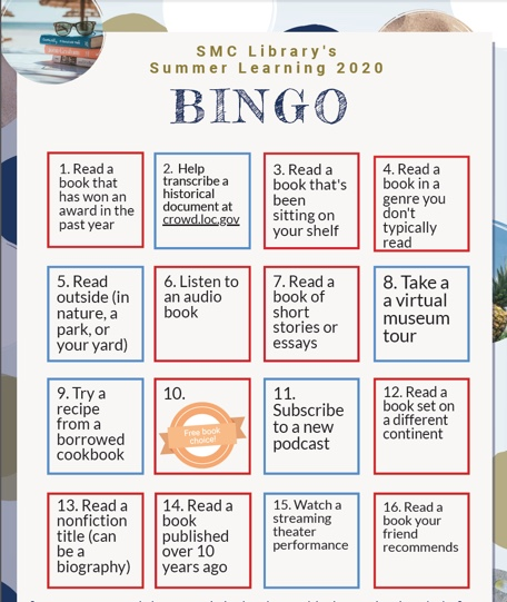 screen capture of 2020 Library Summer Reading bingo card