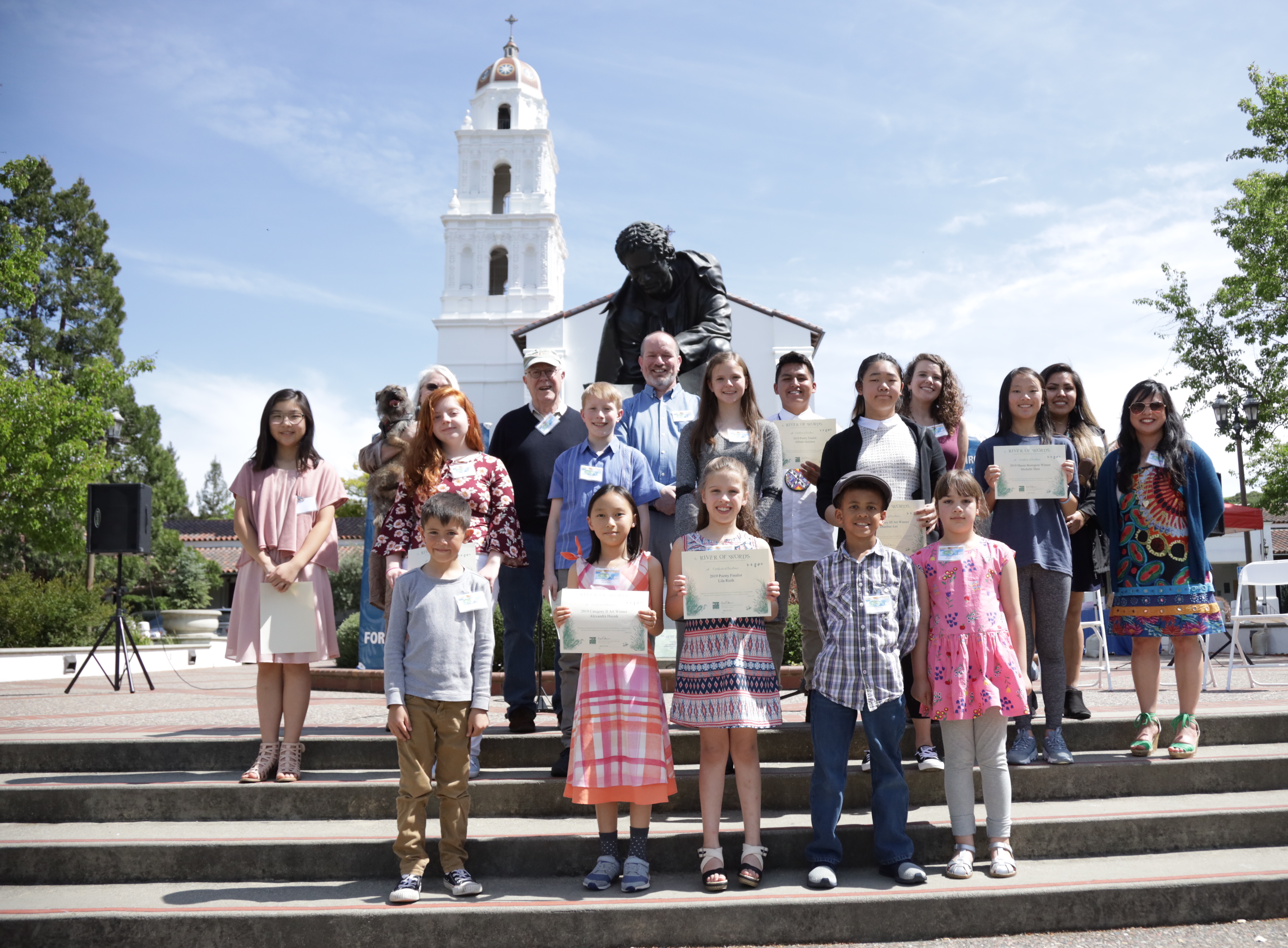 2019 River of Words winners and finalists at the 2019 River of Words Watershed Festival at Saint Mary's College of California's Chapel Lawn: April 13th, 2019. Photography by John Burkart.