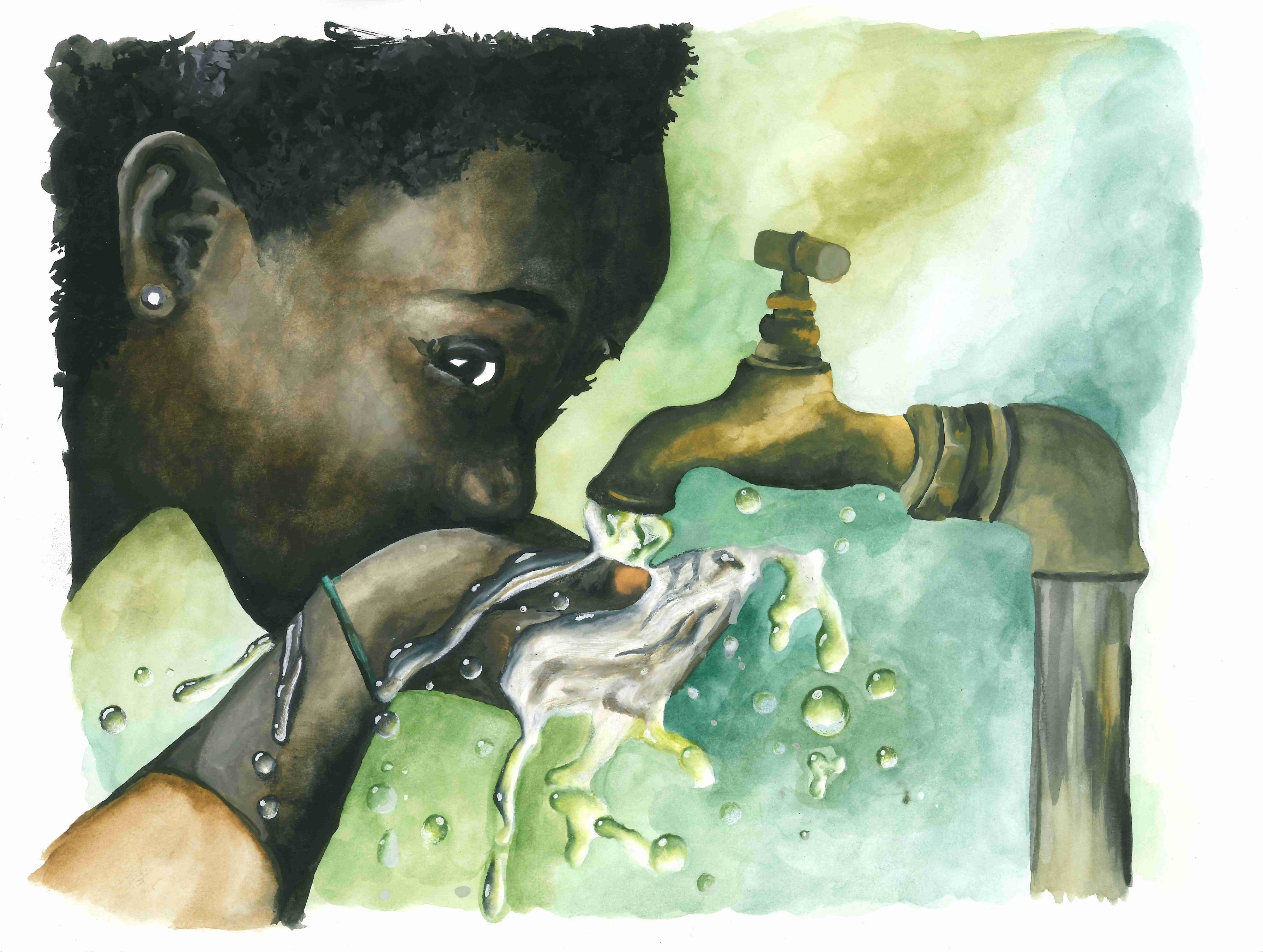 """""""At the Well"""" by Christine Troll; 2019 River of Words Category IV Art Winner"""