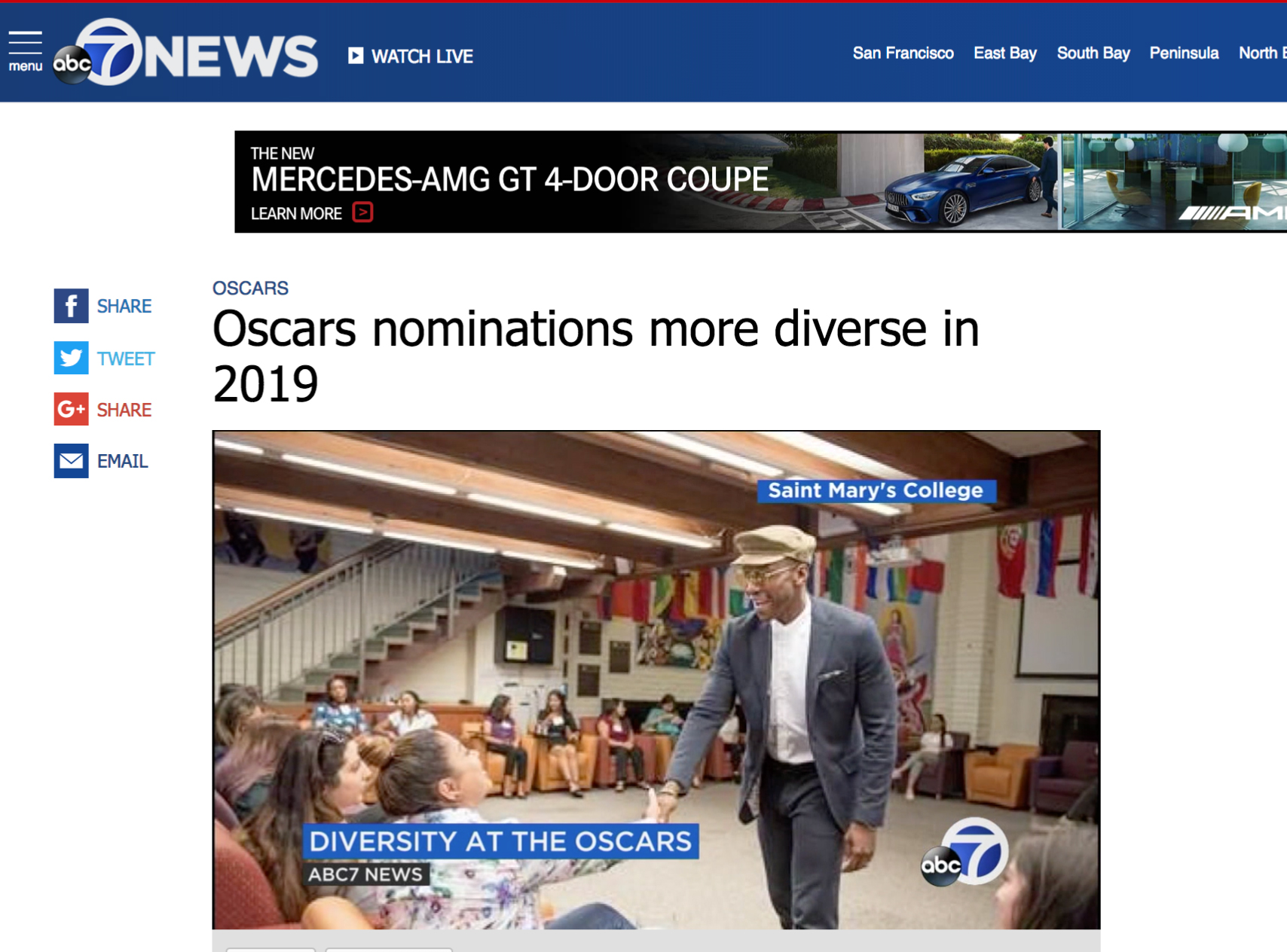 ABC7-KGO-TV news story about Mahershala Ali '96 being nominated for his second Oscar award in three years, and increasing  diversity in the films nominated for Academy Awards.