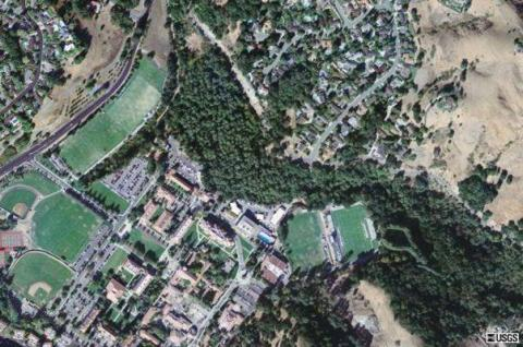 Aerial view of the Saint Mary's College Campus. The Red Willow Seasonal Swamp is the area dominated by trees in the middle of this photo.