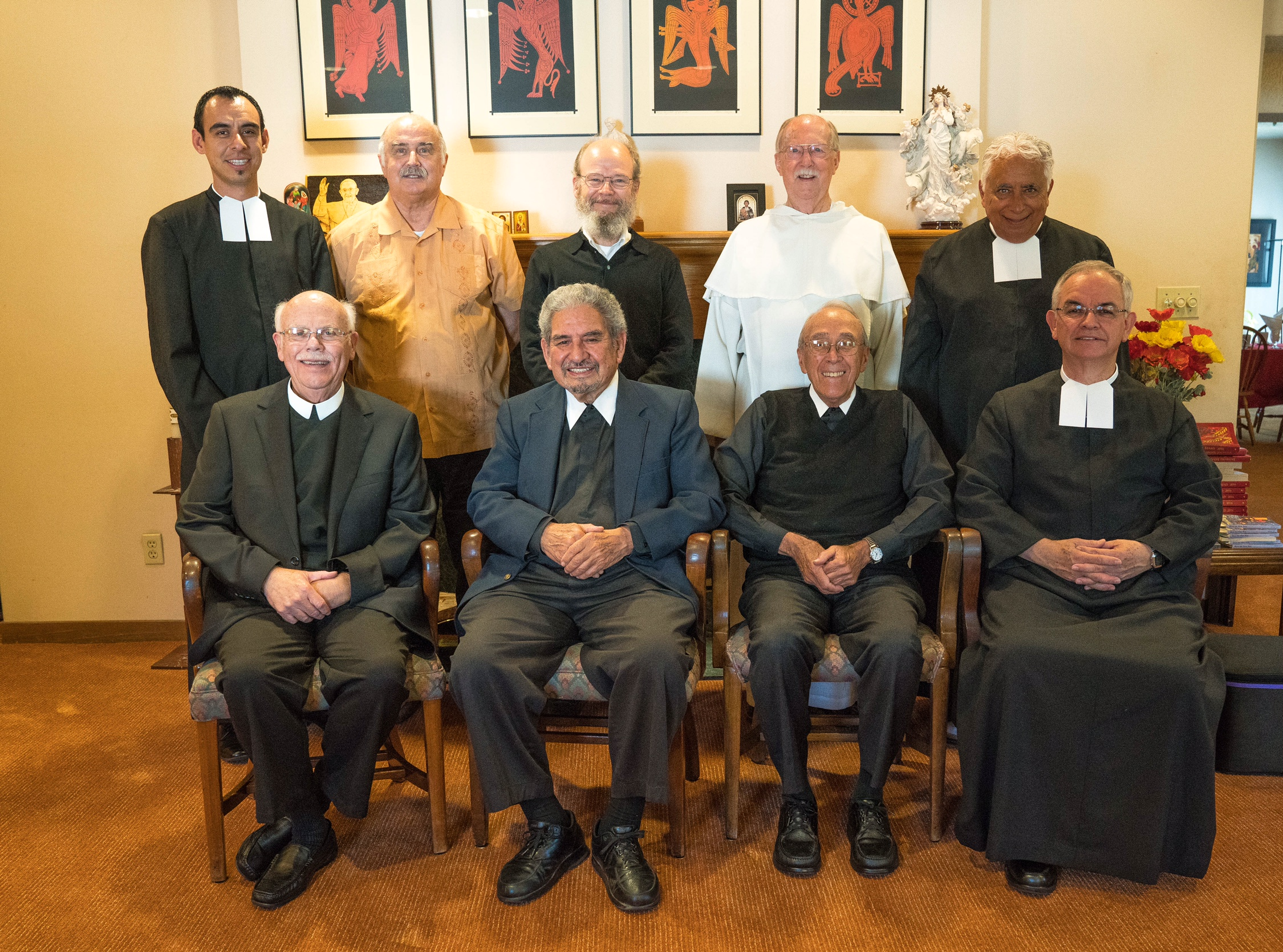 Alemany Christian Brothers' Community- Back Row From Left: Br. Christopher Patino, Br. Michael Meister, Br. Charles Hilken (Director), Fr. John Morris, OP (Chaplain), Br. Richard Orona; Front Row From Left: Br. Stan Sobczyk, Br. Camillus Chavez, Br. Bernard LoCoco, Br. Michael Avila