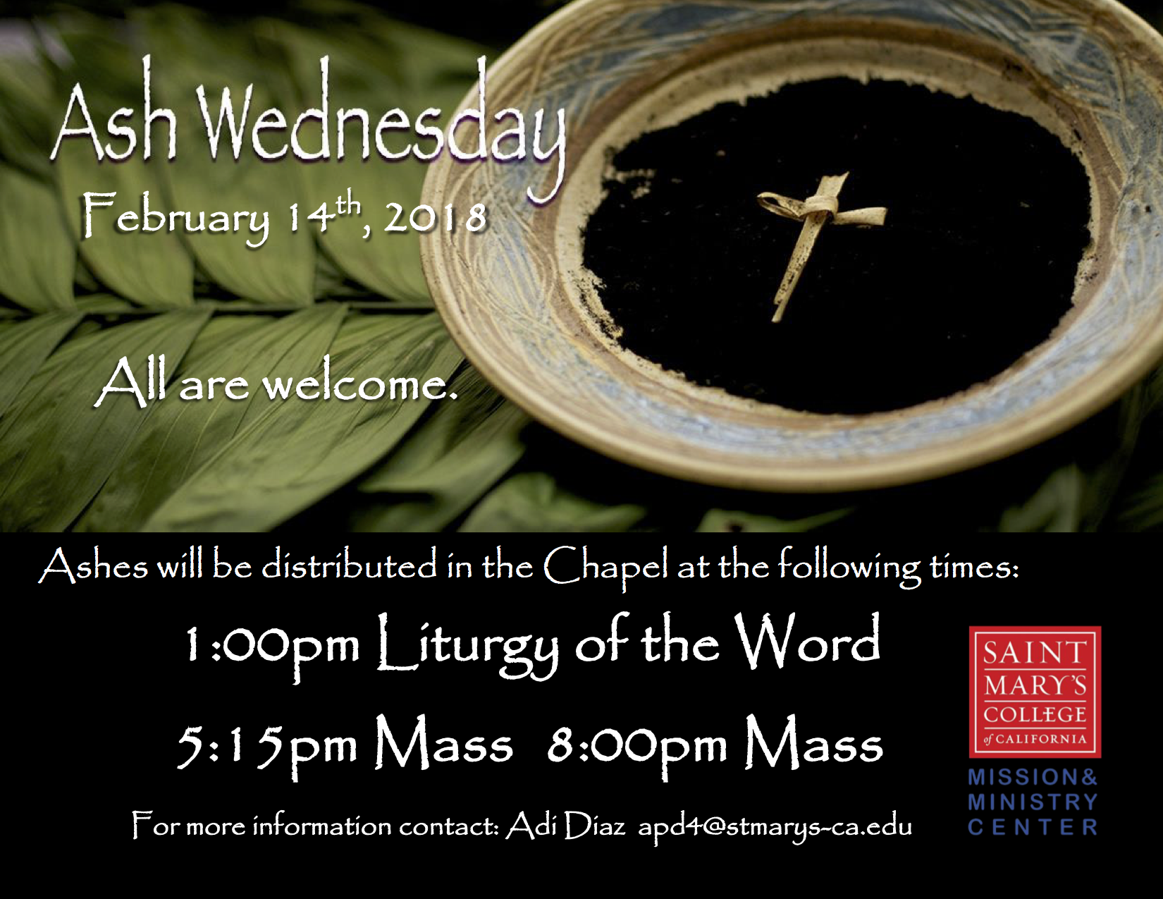 Ash Wednesday flyer
