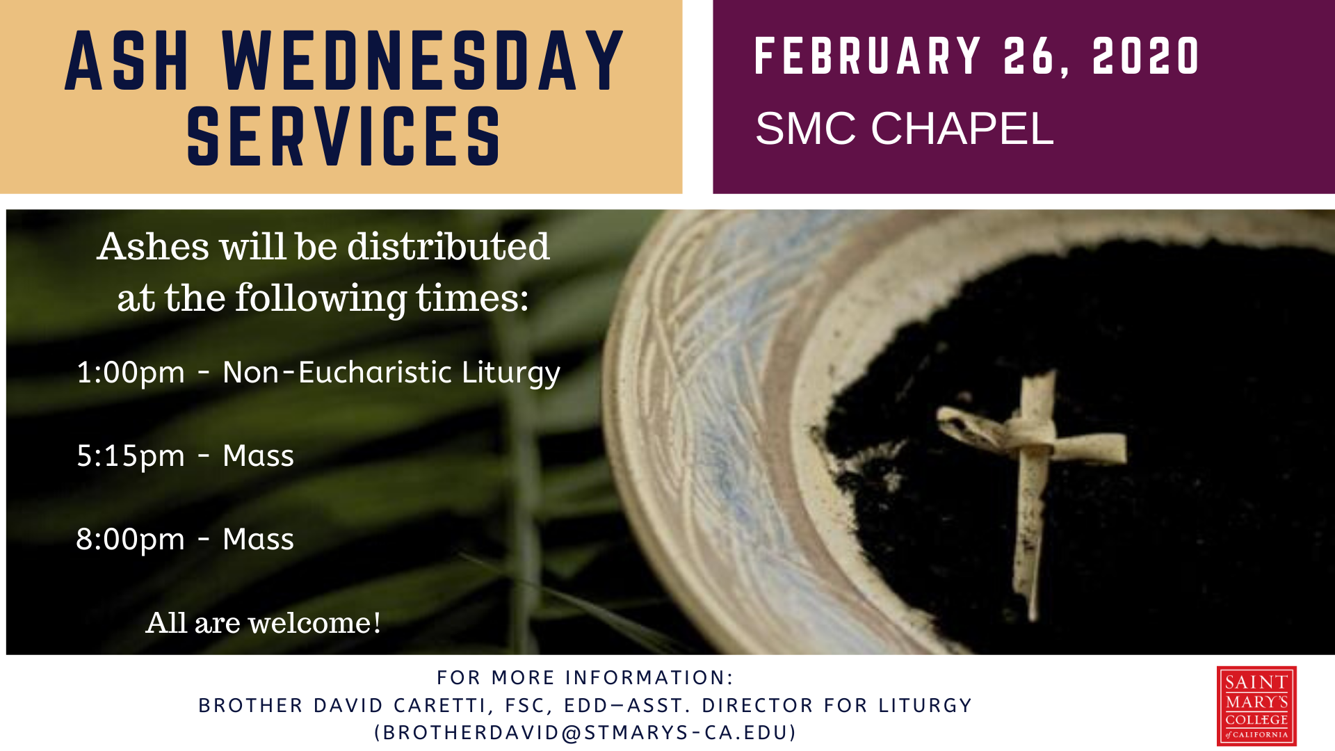 Ash Wednesday Services times