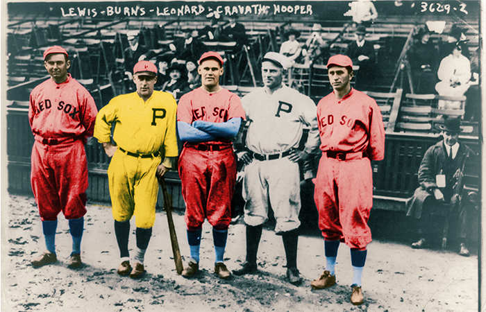 Five Californians who played in the 1915 World Series, four of whom attended Saint Mary's (left to right): Boston Red Sox left fielder Duffy Lewis (class of 1911), Philadelphia Phillies catcher Ed Burns (class of 1907), Red Sox pitcher Dutch Leonard (class of 1916), also pictured above, Phillies right fielder Gavvy Cravath, and Hall of Famer Harry Hooper, the Red Sox right fielder (class of 1907).