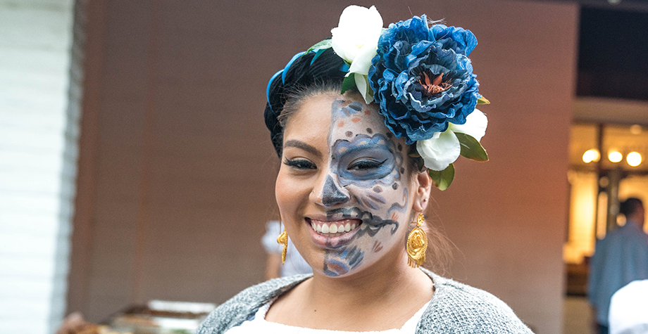 Female student dressed up for Dia Del Los Muertos