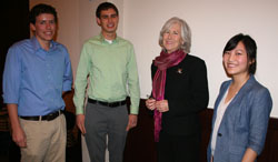 Brownlee with students at panel discussion