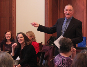 Brunetti entertained the SMC community members gathered in the Faculty/Staff Dining Room.
