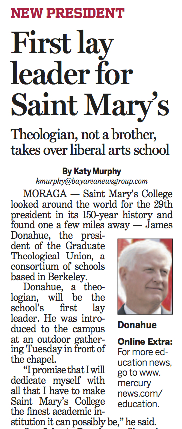 Contra Costa Times article on SMC's first lay president James Donahue