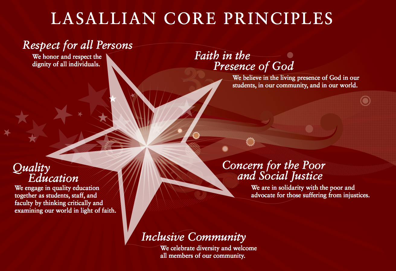 Lasallian Core Principles Respect for all Persons: We honor and respect the dignity of all individuals. Faith in the Presence of God: We believe in the living presence of God in our students, in our community, and in our world. Quality Education: We engage in quality education together as students, staff, and faculty by thinking critically and examining our world in light of faith. Concern for the Poor and Social Justice: We are in solidarity with the poor and advocate for those suffering from injustices. Inclusive Community: We celebrate diversity and welcome all members of our community.