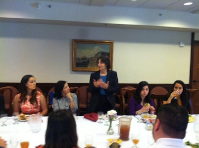 Assemblywoman Joan Buchanan, center, talks about possible Cal Grant cuts to students at a roundtable lunch Friday, May 2.