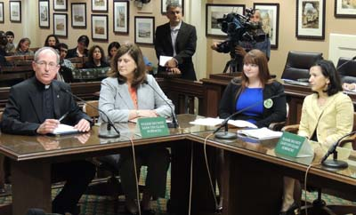The assembly committee heard from (left to right) Santa Clara University President Rev. Michael Engh, Assemblymember Susan Bonilla, SMC student Jessi Bailey and  Kristen Soares, president of Association of Independent California Colleges and Universities.
