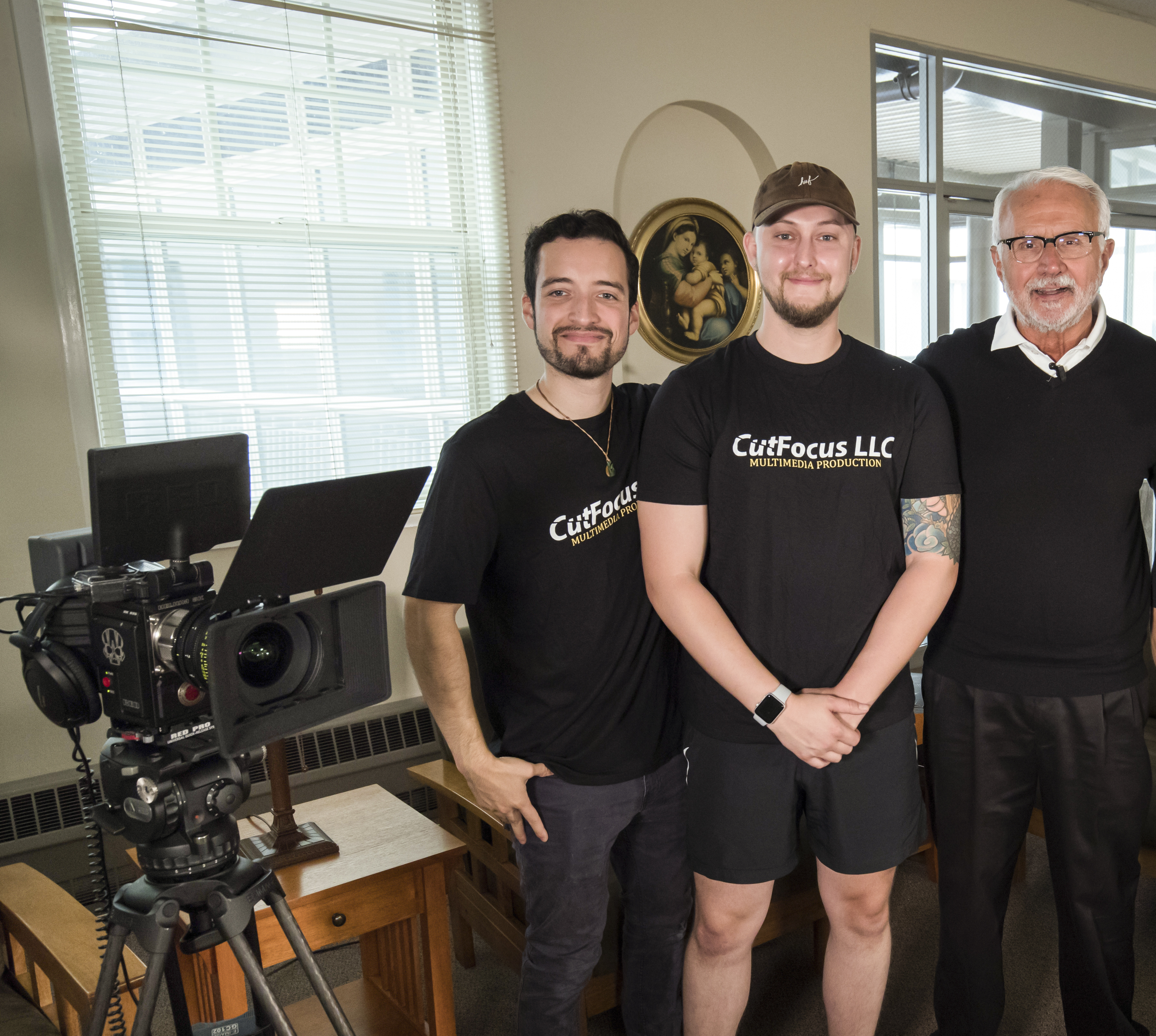 Carlos Torres '16 and Jake Slonecker From CutFocus with Father Mike Russo