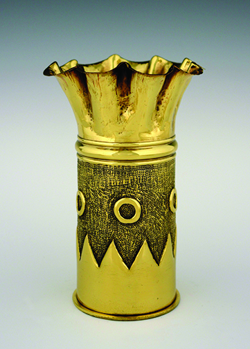 Decorated artillery shell, brass artillery shell, WWI, Maker: Hungarian. Hollingsworth Collection (TA.44)