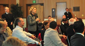 Provost Beth Dobkin asked panelists a question.