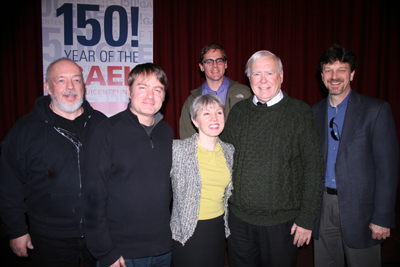 Lauren Speeth (center) with, left to right, sound designers John Watkins and Josh Workman, illustrator Michael Dalling, Brother Ronald Gallagher, and cinematographer Tim Schaller.