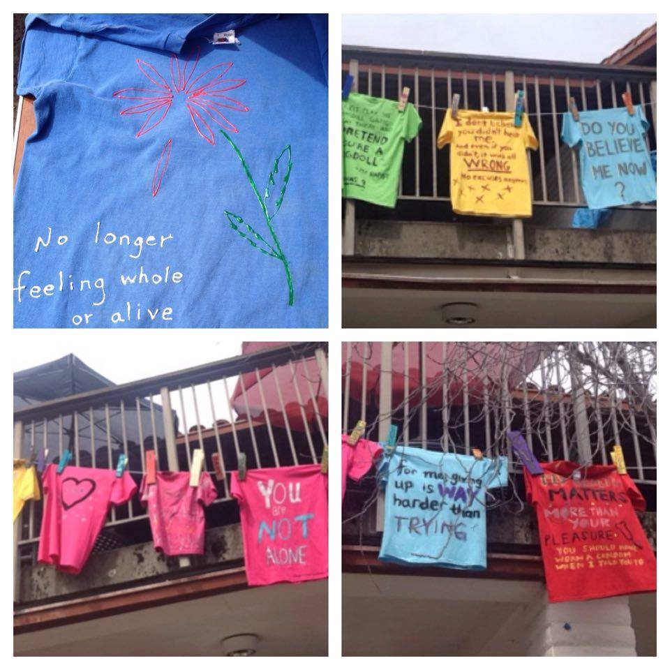 Photos from our April 2016 Clothesline Project, a component of our annual Sexual Assault Awareness Month that allows survivors to decorate tee-shirts to express their emotions.