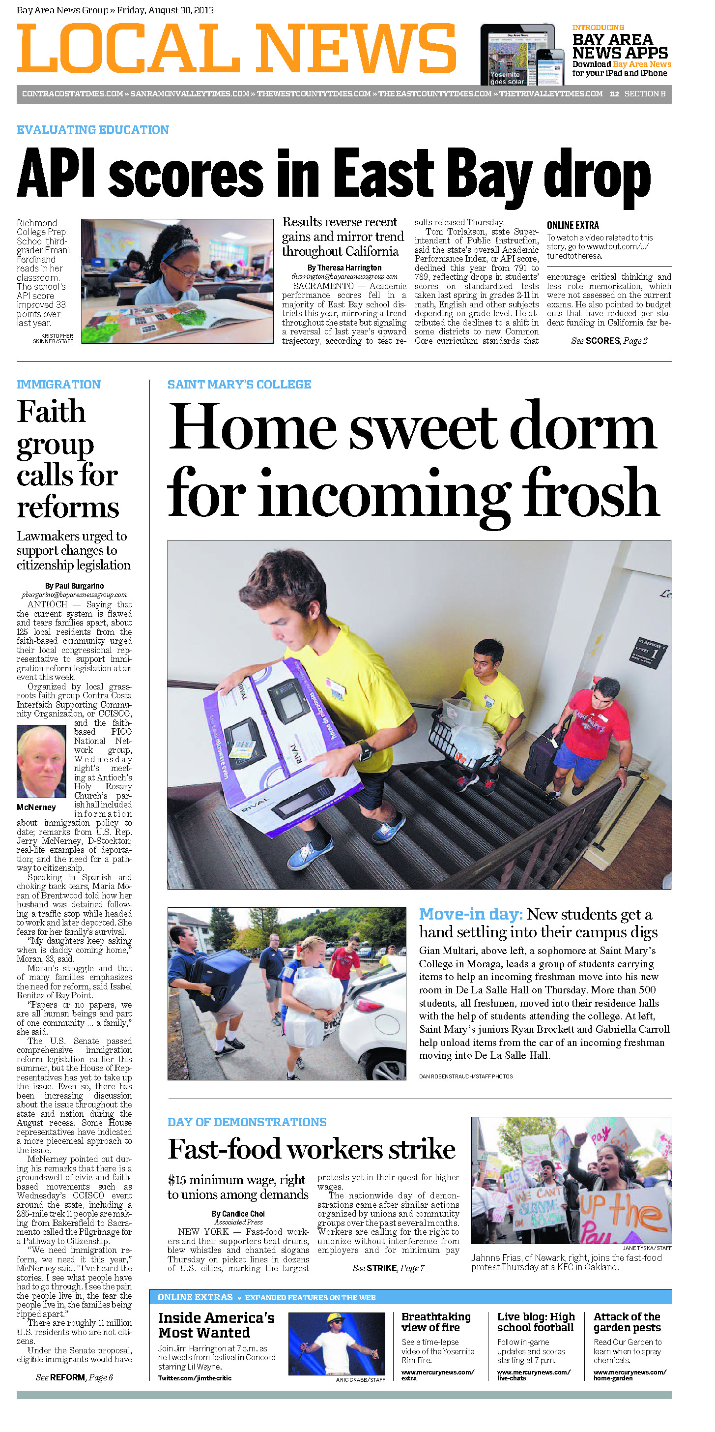 Page 1 of the Aug. 30, 2013 Contra Costa Times Local News page shows new SMC students moving in during the College's annual Weekend of Welcome.