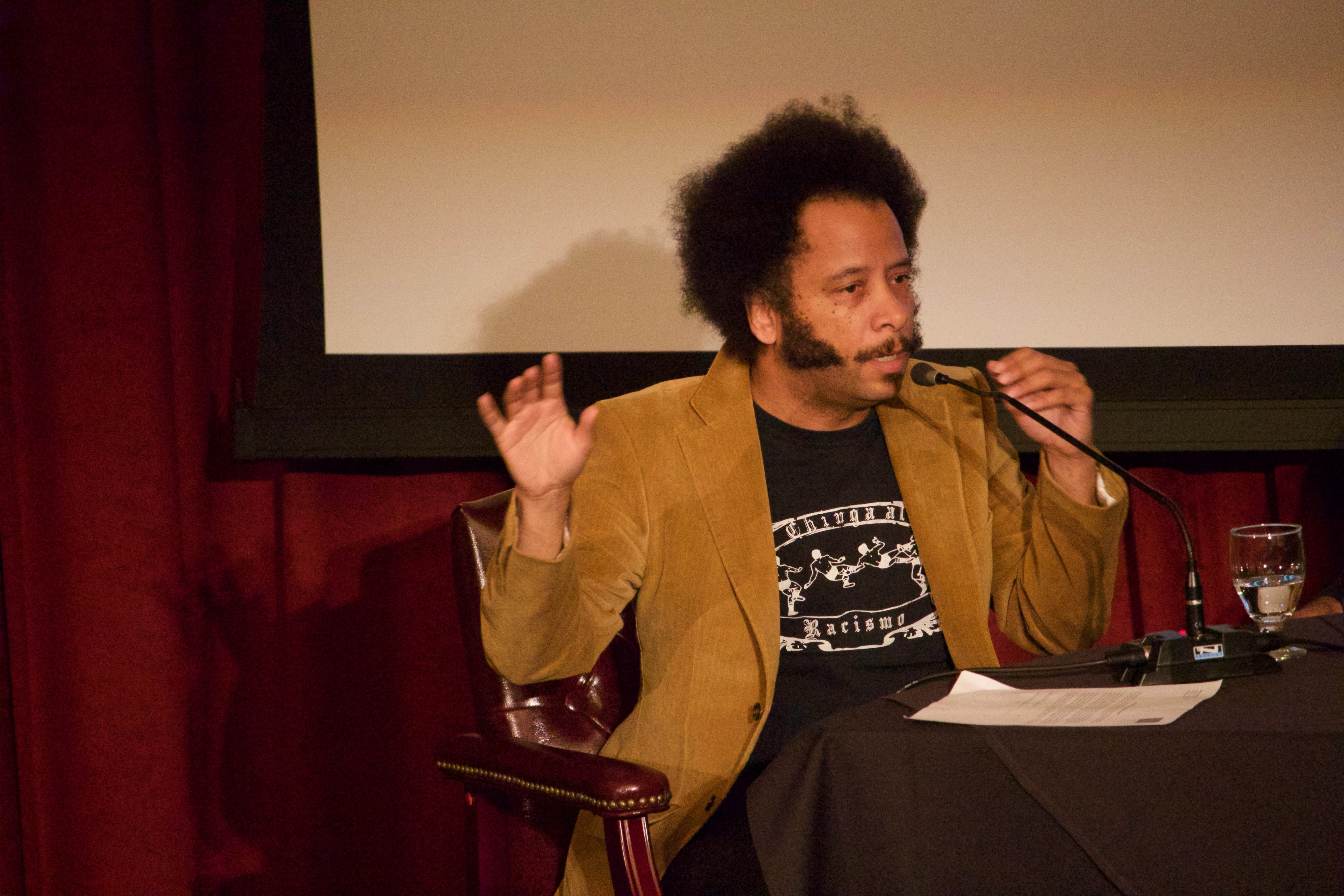 Boots Riley talks to students at SMC.