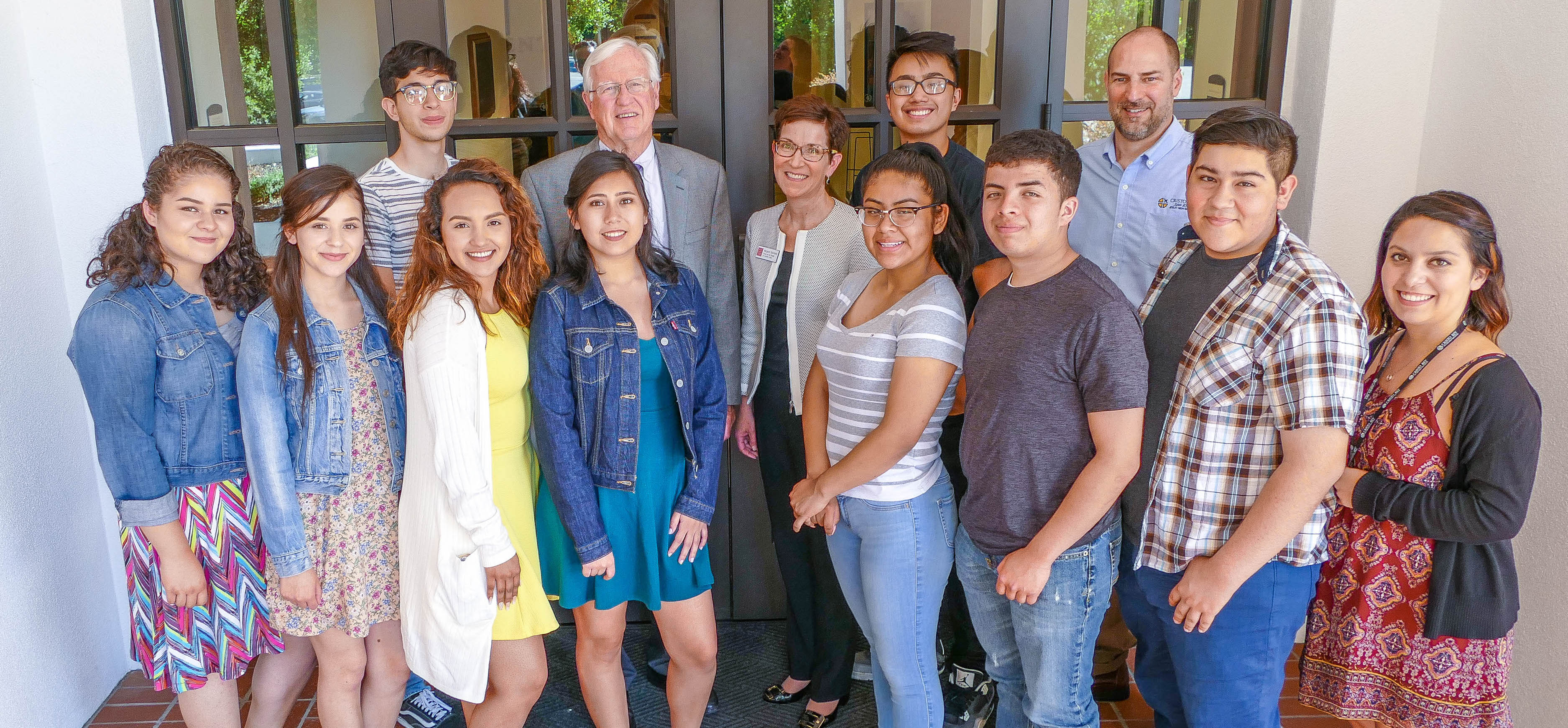 The inaugural class of Cristo Rey San Jose Annual Scholarship recipients gather with Saint Mary's President James Donahue and Provost and Vice President for Academic Affairs Margaret Kasimatis. Front Row (Left to Right): Jacqueline Torres, Luciana Zuniga, Sojey Olmedo, Isabel Martinez, Jennifer Cortez, Abel Cuevas, Diego Reece, Cristina Avina (Alumni Advisor). Back Row (Left to Right): Adrian Mireles Mata, President Donahue, Provost Kasimatis, Ben Nguyen, Todd Hicks (CRSJ Director of University Access and Success).