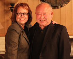 Durazo with Professor Ted Tsukuhara, director of the John F. Henning Institute at Saint Mary's College.