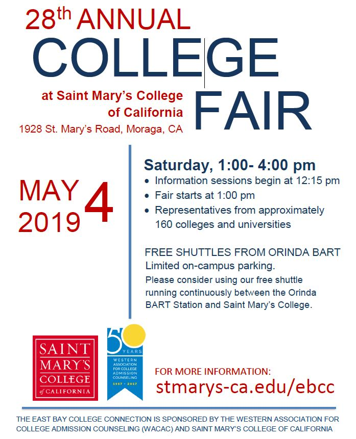 1a267c4b 28th Annual East Bay College Connection Fair at Saint Mary's College ...