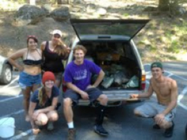 EES students in the Sierras with rock haul for the CNP garden.Mallory Zaunius, Christina Bay, Ciera Alvarez, Luke Sauser and Danny Hayes