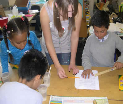 Third grade students also reported their observations and College students listened and sometimes offered input. (photo by CILSA staff).
