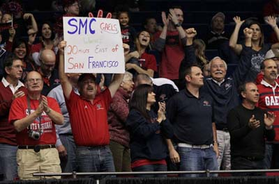 Fans from far and wide cheered the team at the First Four game in Dayton.