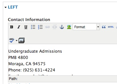Footer Contact Information