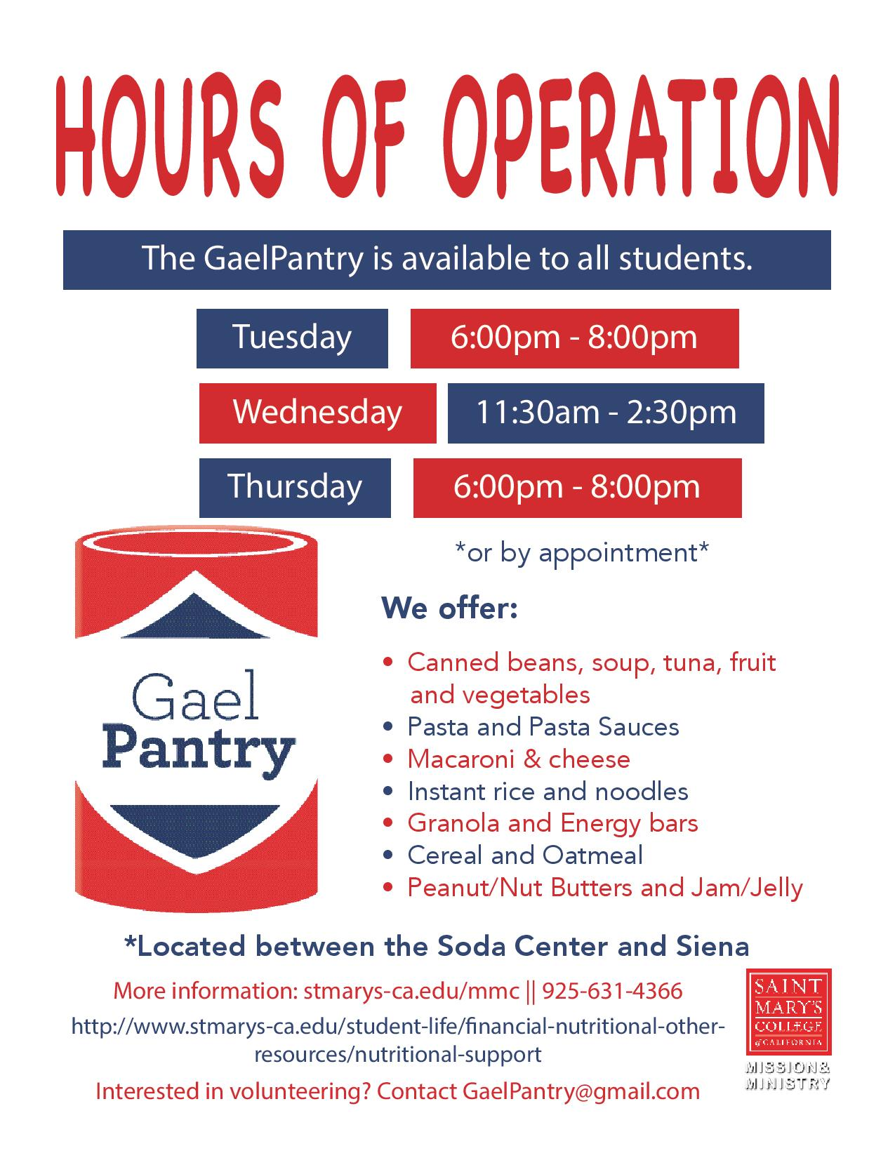 GaelPantry Hours of Operation