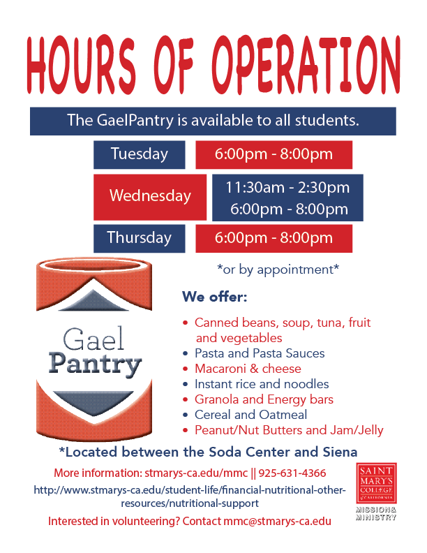 GaelPantry Hours of Operation for the 2020 Academic year