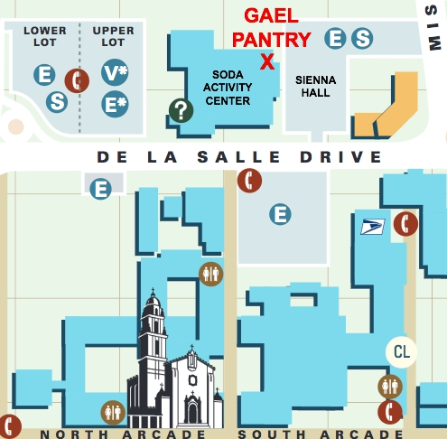 Gael Pantry Map - the Gael Pantry is located between the Soda Center and Sienna Hall