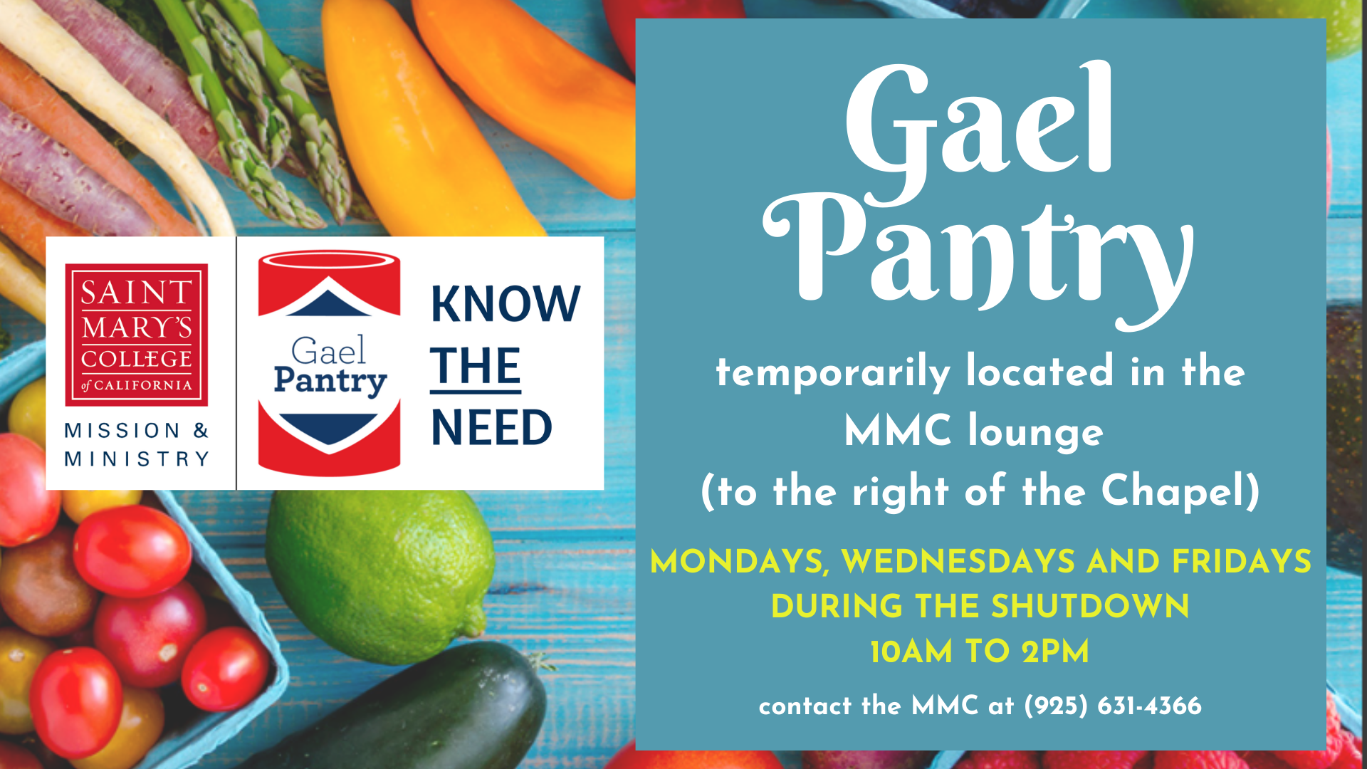 GaelPantry temporary hours, COVID-19