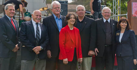 Dignitaries at the opening ceremony included (left to right) State Sen. Mark DeSaulnier, Moraga Vice Mayor Howard Harpham, Congressman George Miller, Assemblymember Joan Buchanan, Board of Trustees Charrman Russell Harrison, Brother President Ronald Gallagher, and Contra Costa County Supervisor Candace Andersen
