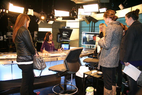 Laura Garcia-Cannon in the NBC Bay Area studio with SMC students