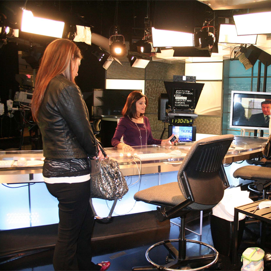 Laura Garcia-Cannon gives Saint Mary's students a tour of the Bay Area NBC studios.