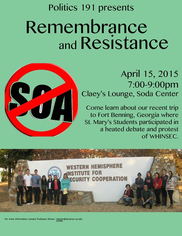 Politics 191 Remembrance and Resistance - Claeys Lounge 4/15/15, 7:00pm