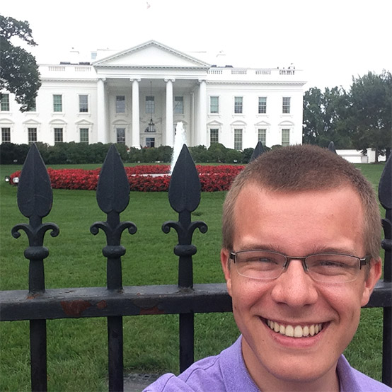 Philip Goodwin '16 in front of White House.